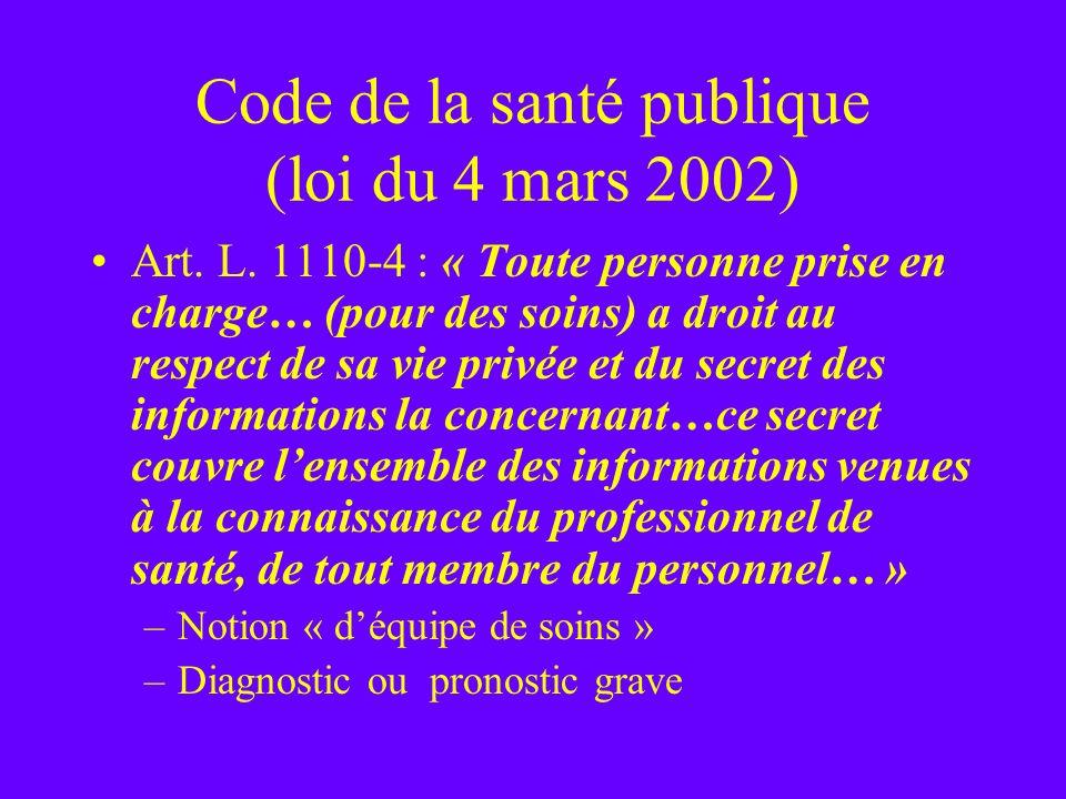 Code de la santé publique (loi du 4 mars 2002)