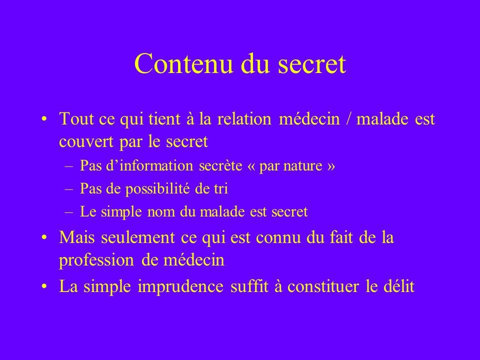 Contenu du secretTout ce qui tient à la relation médecin / malade est couvert par le secret. Pas d'information secrète « par nature »