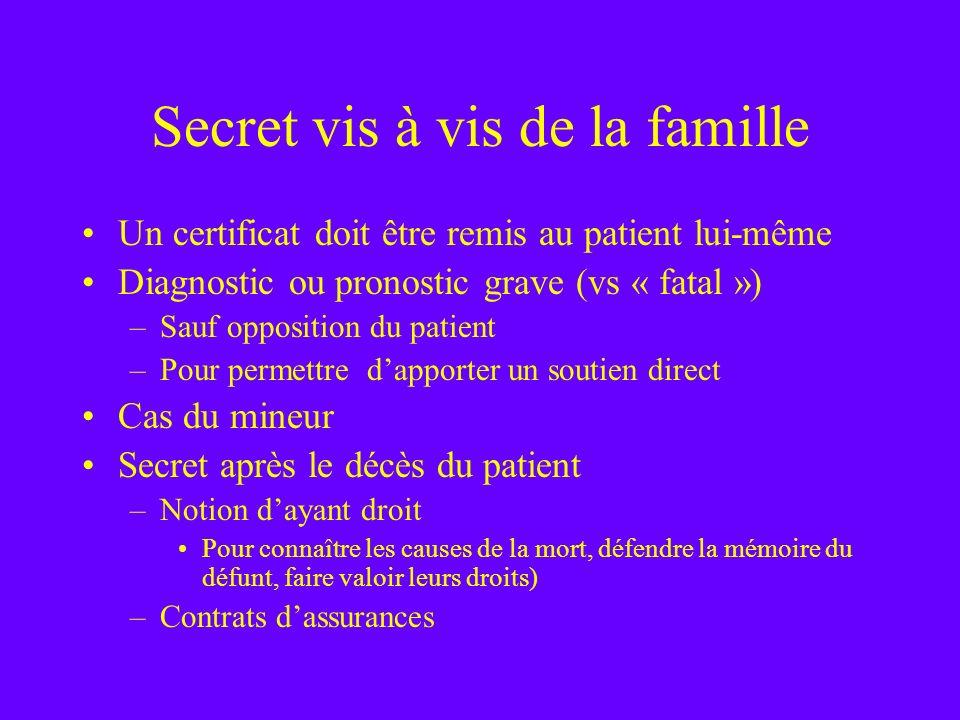Secret vis à vis de la famille