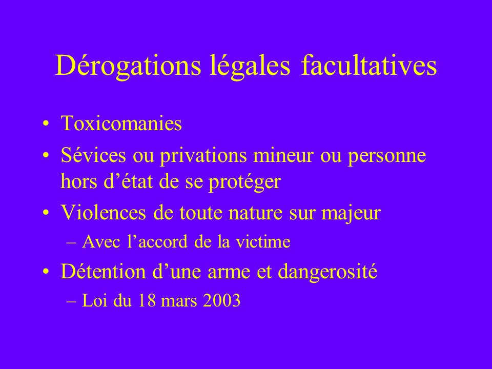 Dérogations légales facultatives