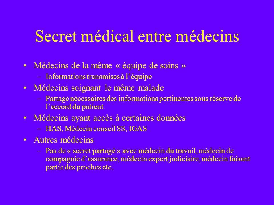 Secret médical entre médecins