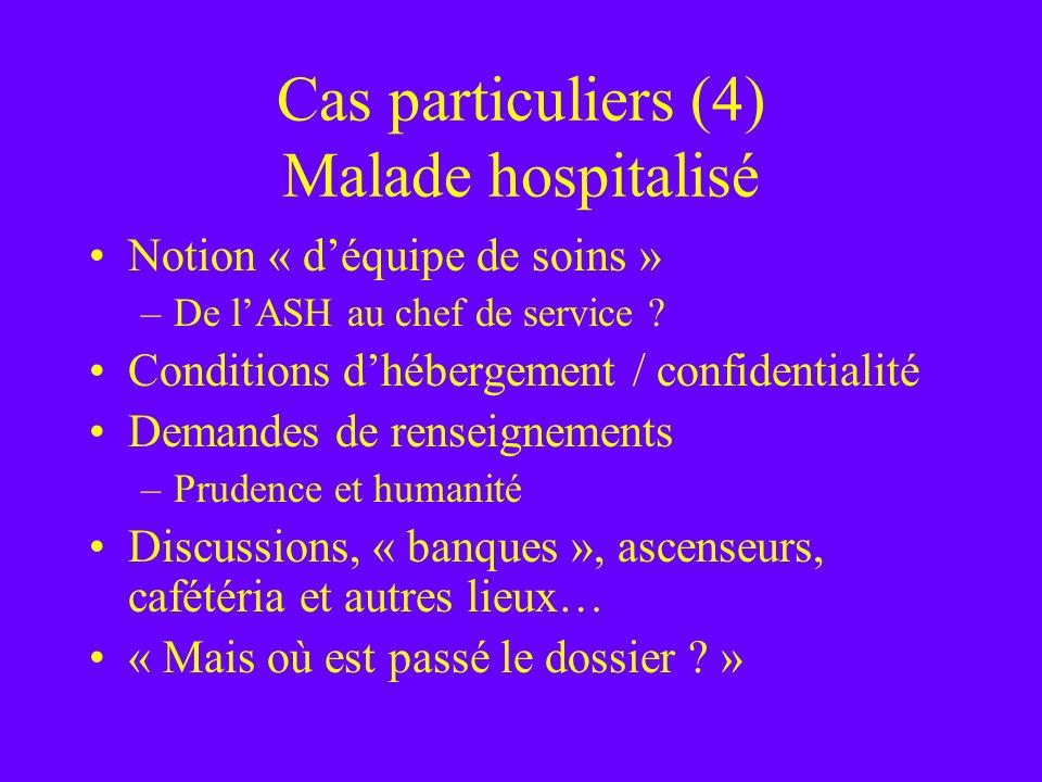 Cas particuliers (4) Malade hospitalisé