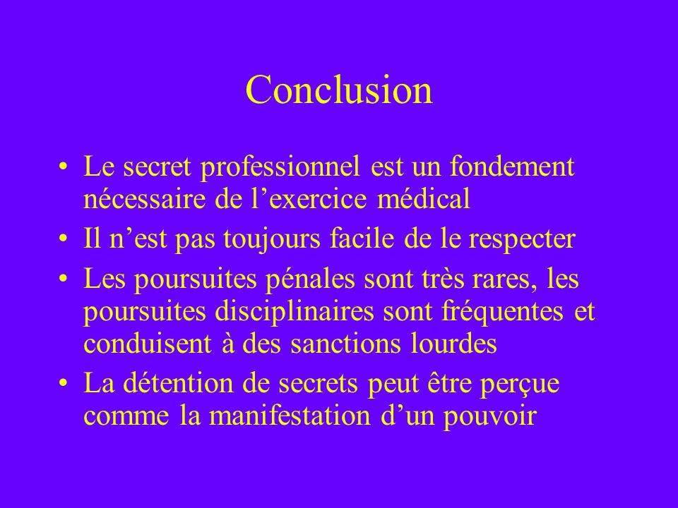 Conclusion Le secret professionnel est un fondement nécessaire de l'exercice médical. Il n'est pas toujours facile de le respecter.