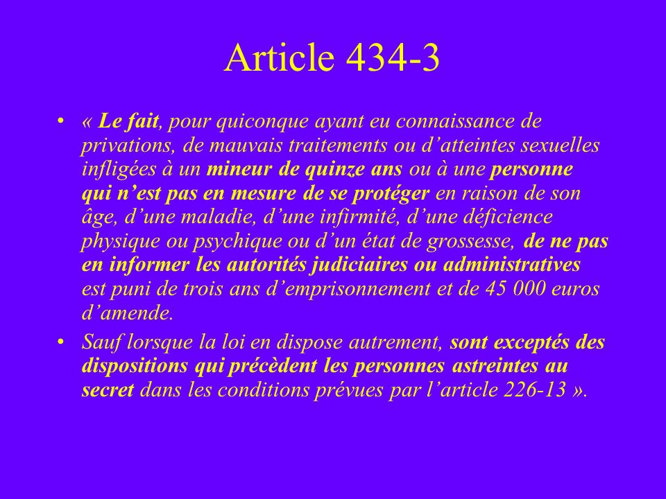 Article 434-3