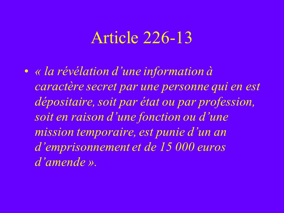 Article 226-13