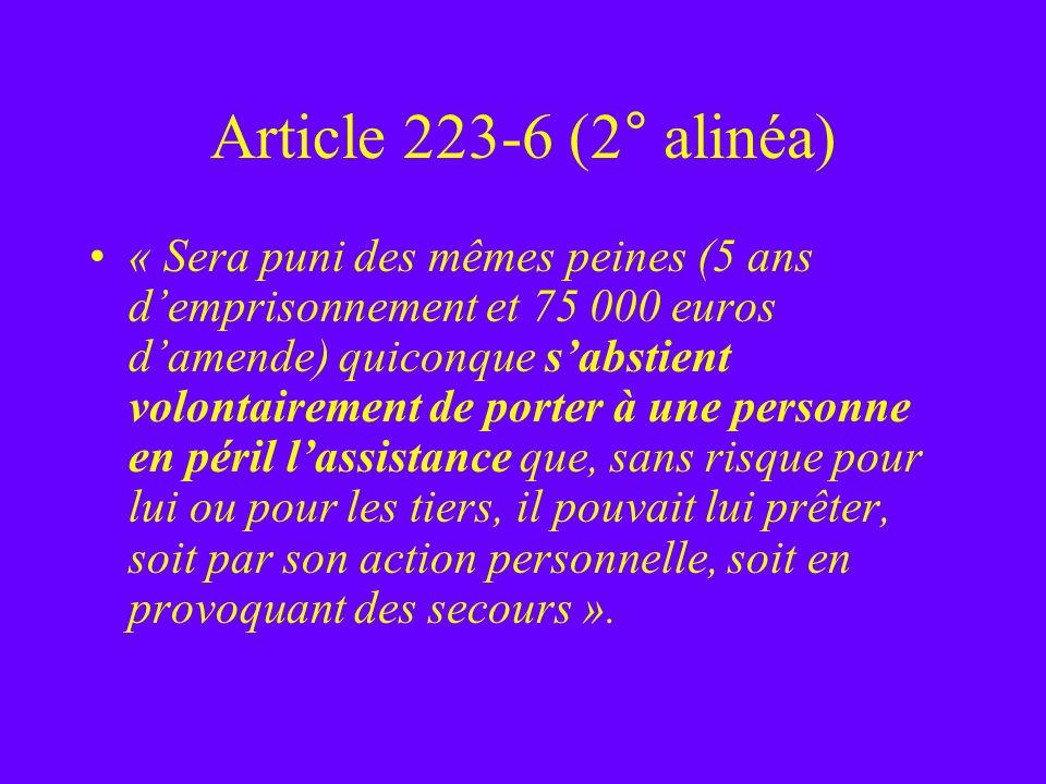 Article 223-6 (2° alinéa)