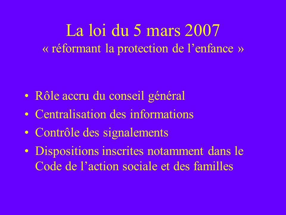 La loi du 5 mars 2007 « réformant la protection de l'enfance »