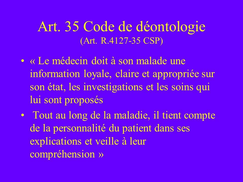 Art. 35 Code de déontologie (Art. R.4127-35 CSP)