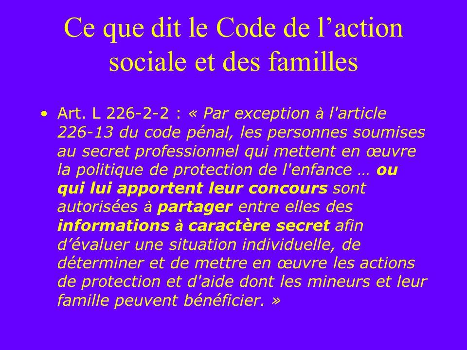 Ce que dit le Code de l'action sociale et des familles