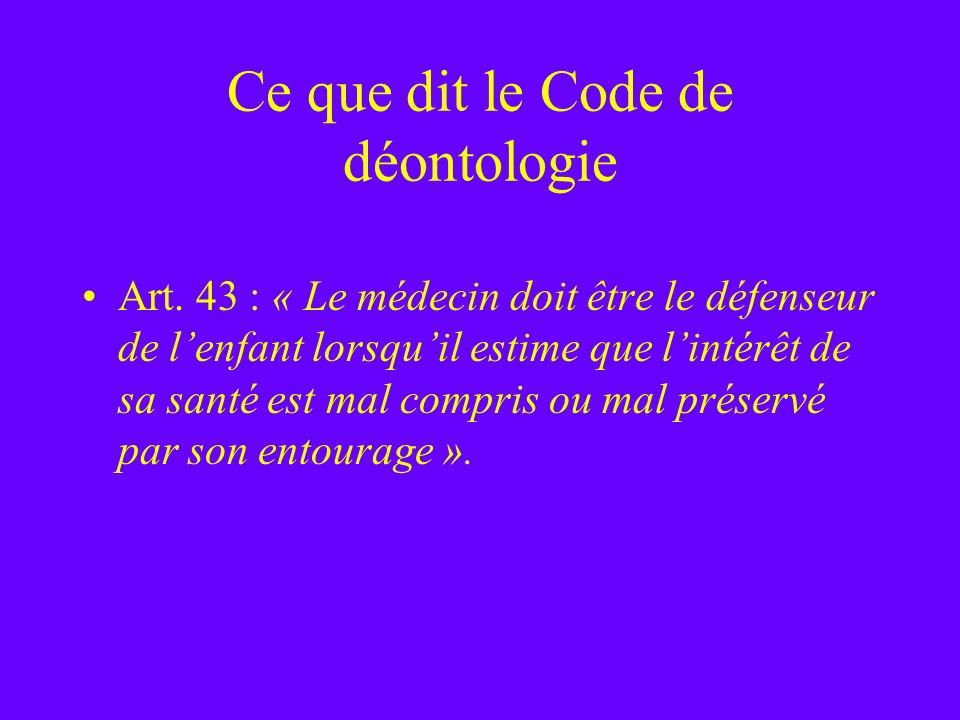 Ce que dit le Code de déontologie