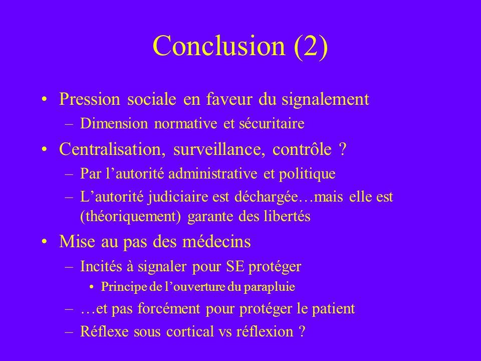 Conclusion (2) Pression sociale en faveur du signalement
