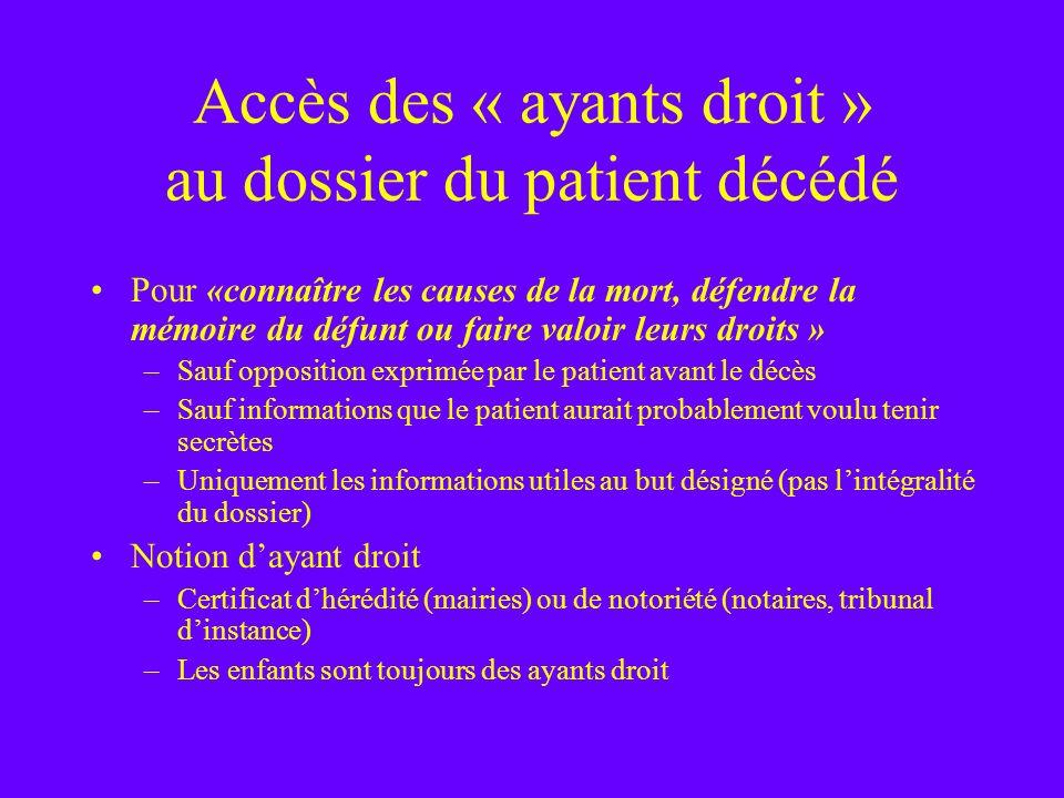 Accès des « ayants droit » au dossier du patient décédé