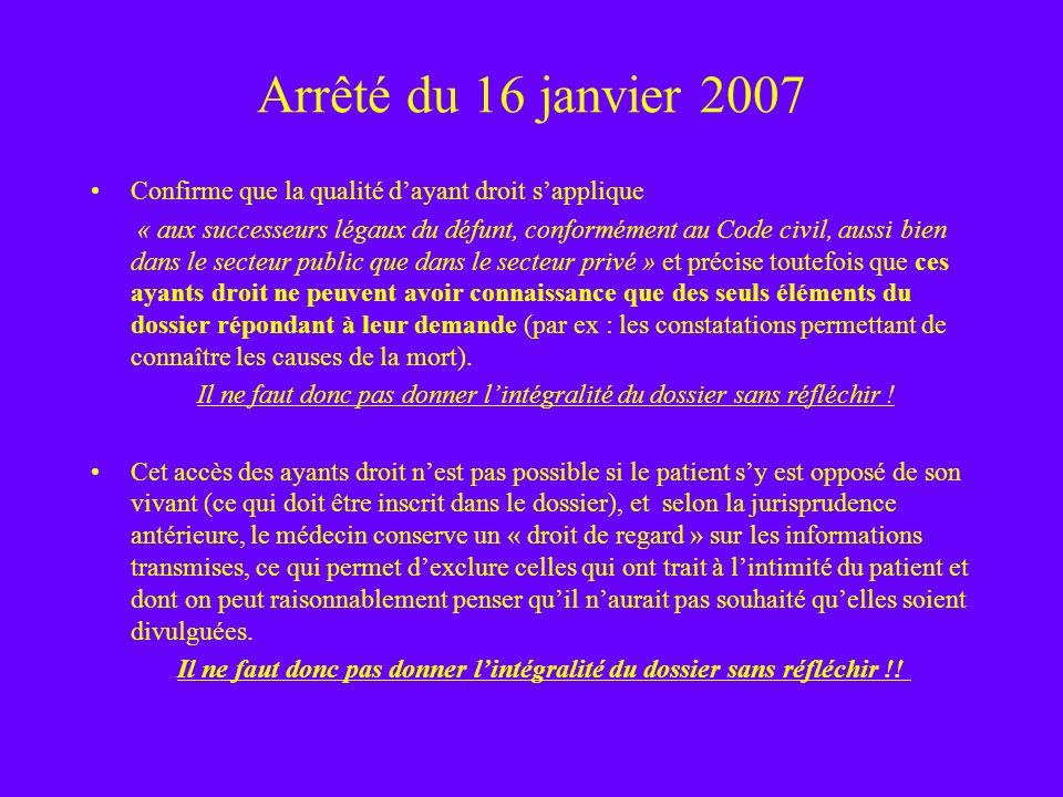 Arrêté du 16 janvier 2007 Confirme que la qualité d'ayant droit s'applique.