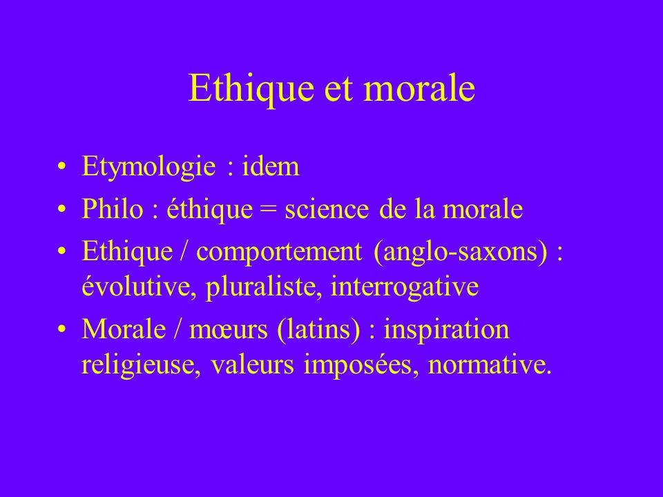 Ethique et morale Etymologie : idem