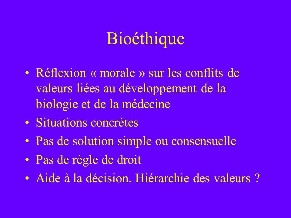 Bioéthique Réflexion « morale » sur les conflits de valeurs liées au développement de la biologie et de la médecine.