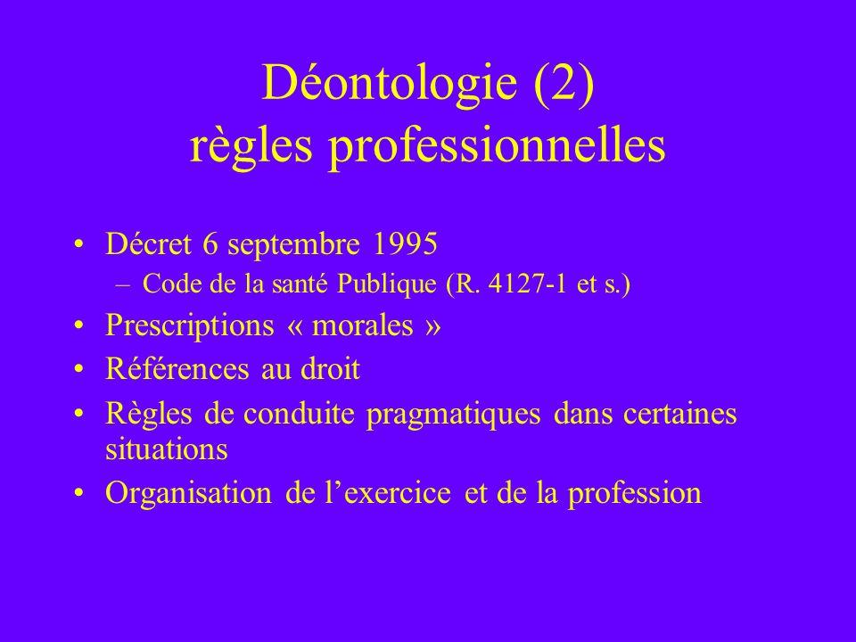 Déontologie (2) règles professionnelles