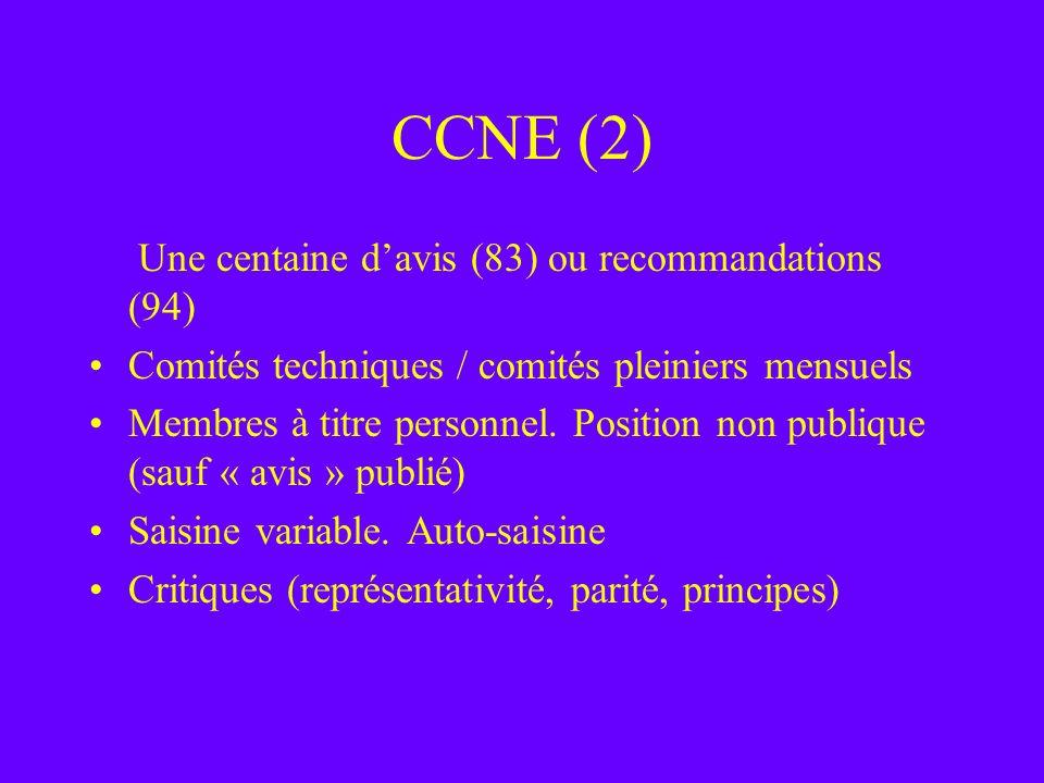 CCNE (2) Une centaine d'avis (83) ou recommandations (94)