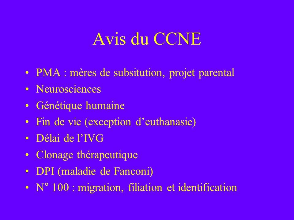 Avis du CCNE PMA : mères de subsitution, projet parental Neurosciences