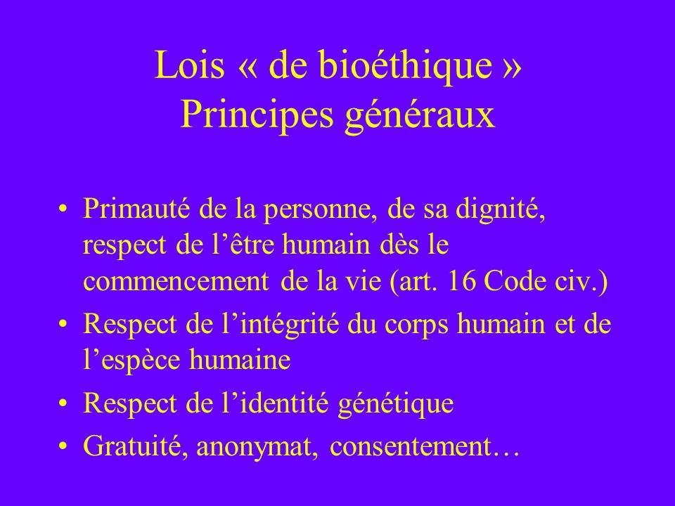 Lois « de bioéthique » Principes généraux