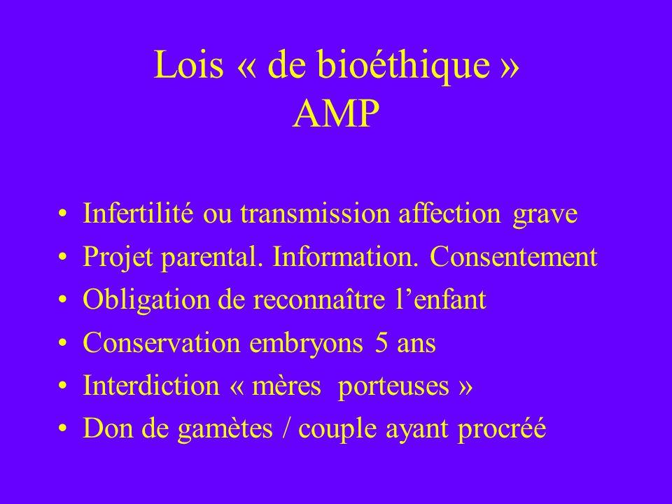Lois « de bioéthique » AMP