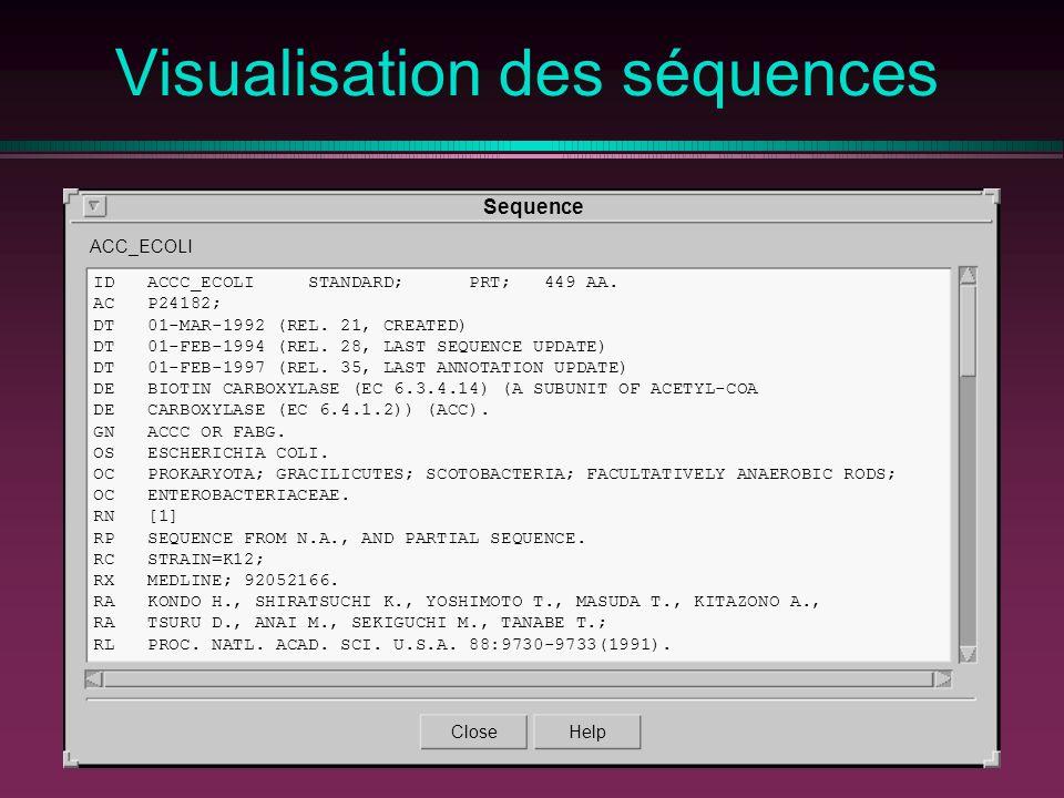Visualisation des séquences