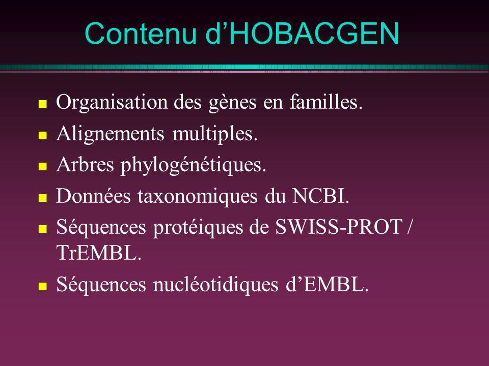 Contenu d'HOBACGEN Organisation des gènes en familles.