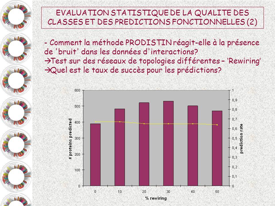 EVALUATION STATISTIQUE DE LA QUALITE DES CLASSES ET DES PREDICTIONS FONCTIONNELLES (2)