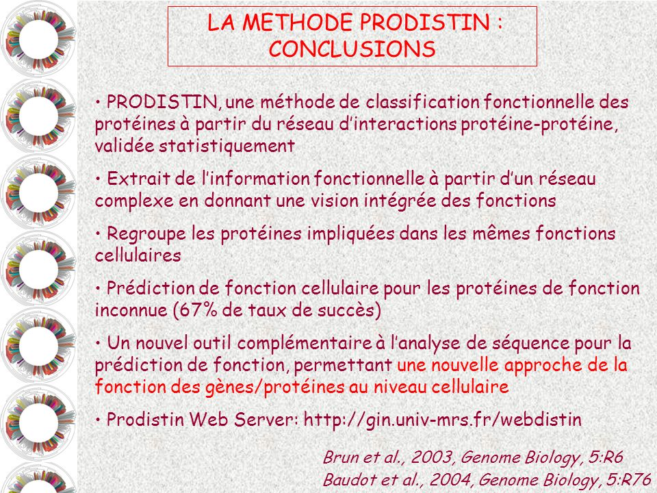 LA METHODE PRODISTIN : CONCLUSIONS