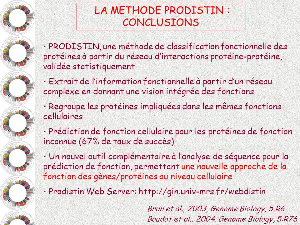 LA METHODE PRODISTIN : CONCLUSIONS