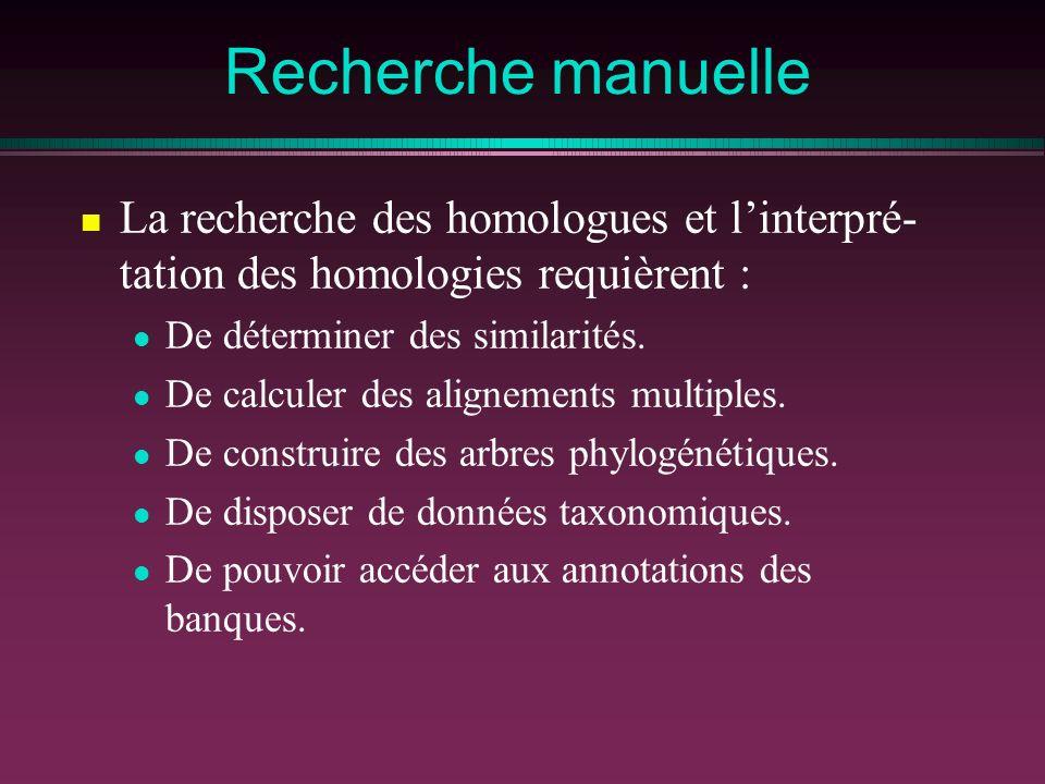 Recherche manuelle La recherche des homologues et l'interpré- tation des homologies requièrent : De déterminer des similarités.