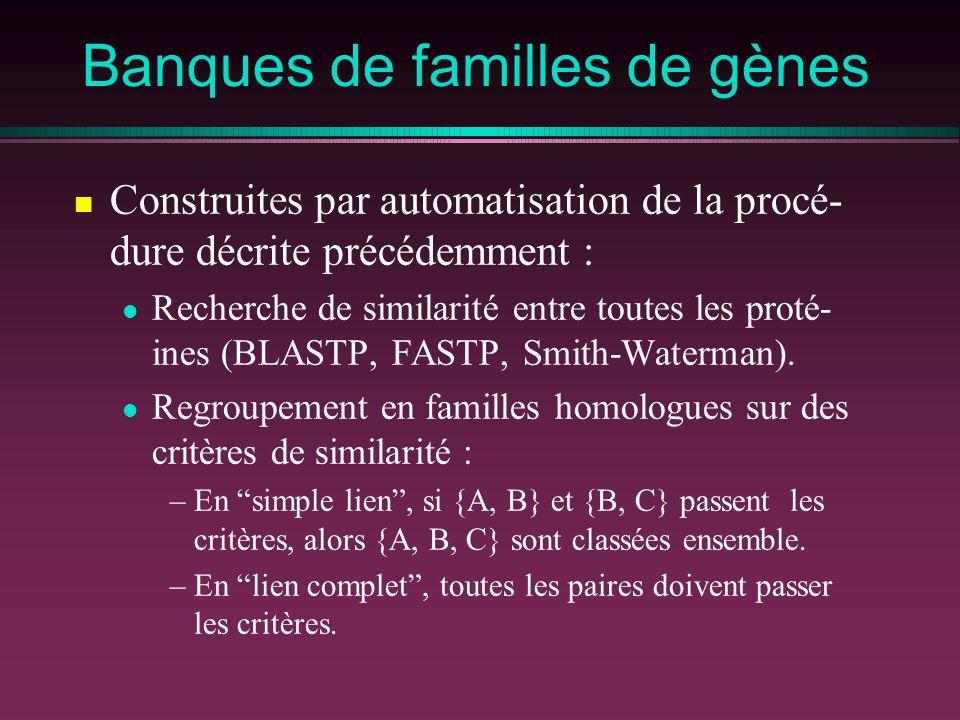 Banques de familles de gènes