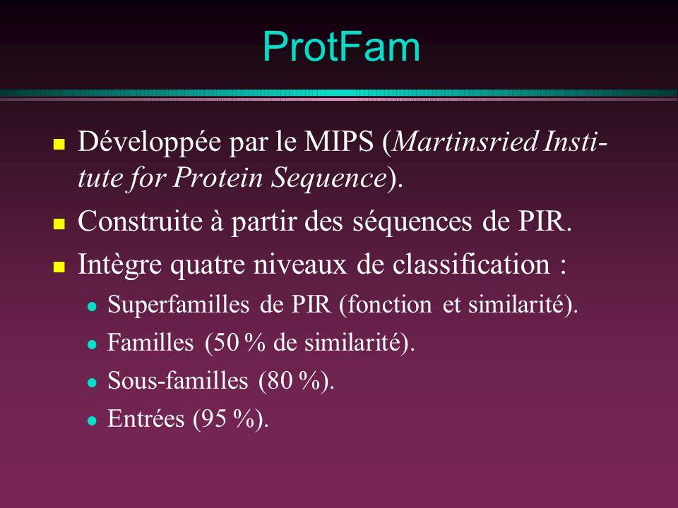ProtFam Développée par le MIPS (Martinsried Insti-tute for Protein Sequence). Construite à partir des séquences de PIR.