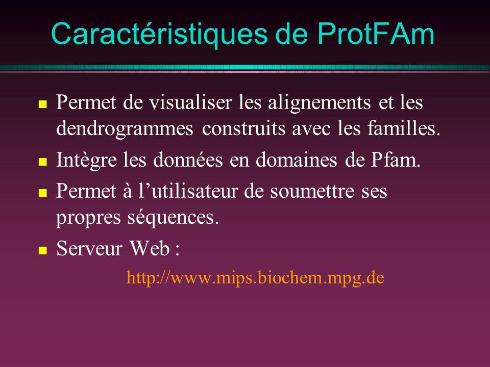 Caractéristiques de ProtFAm