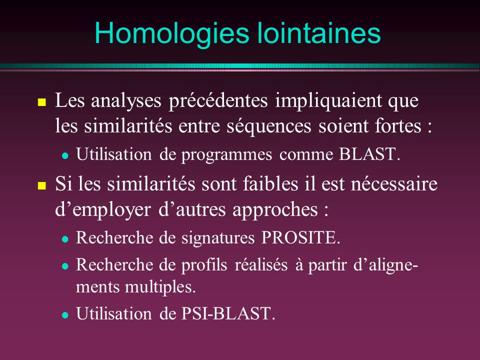 Homologies lointaines