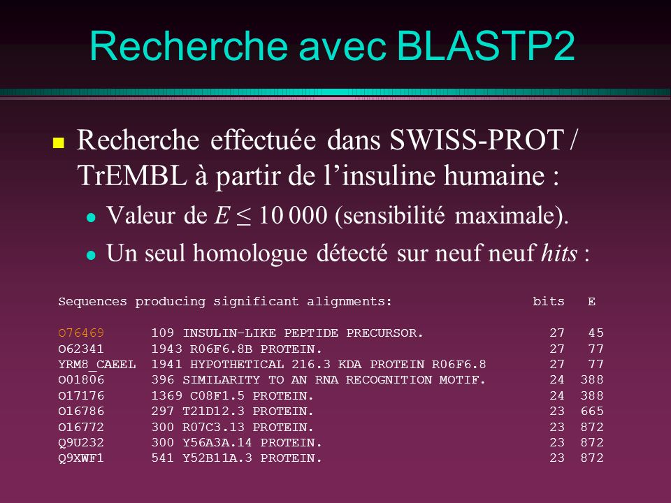 Recherche avec BLASTP2 Recherche effectuée dans SWISS-PROT / TrEMBL à partir de l'insuline humaine :