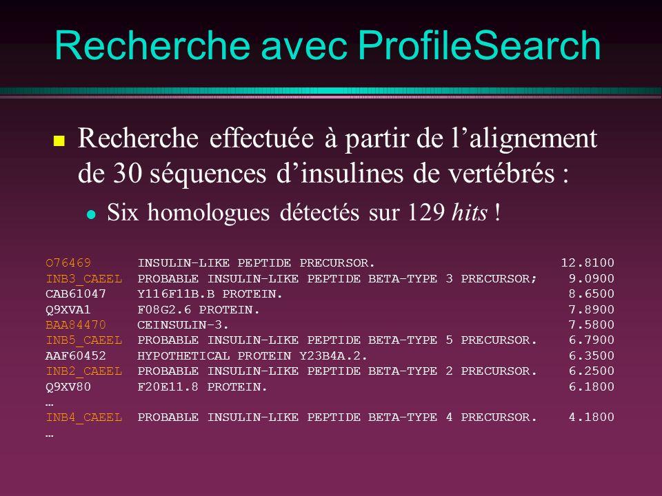 Recherche avec ProfileSearch