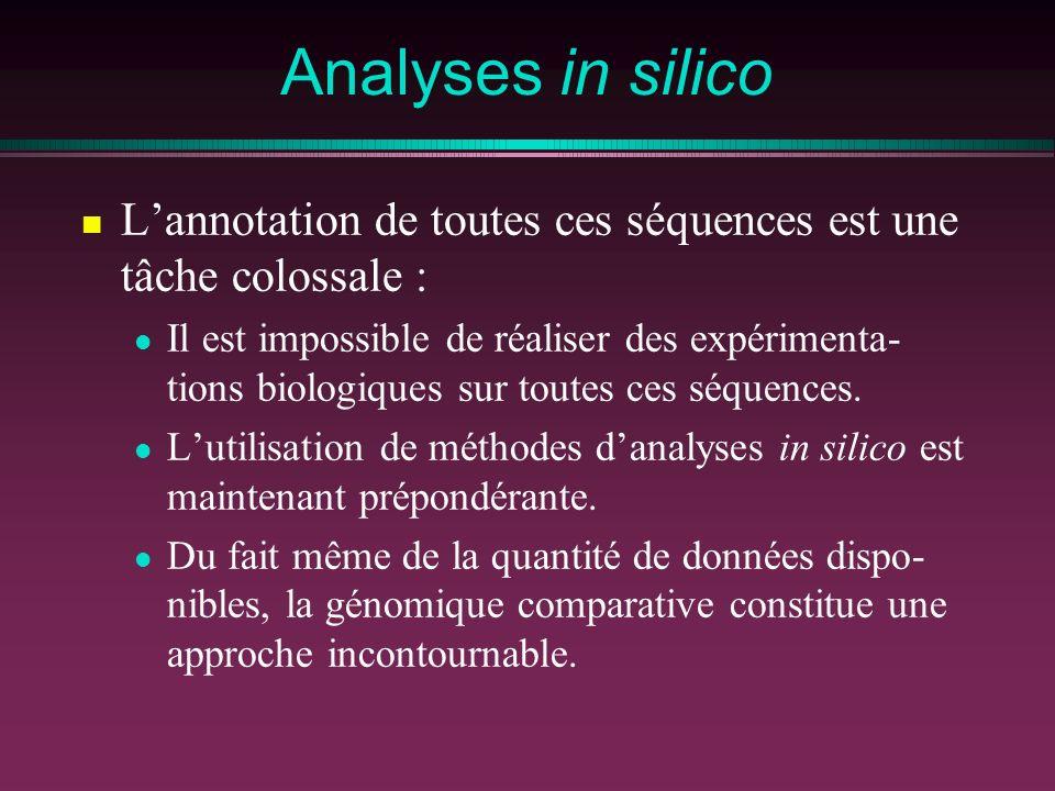 Analyses in silico L'annotation de toutes ces séquences est une tâche colossale :