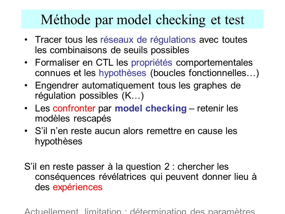 Méthode par model checking et test
