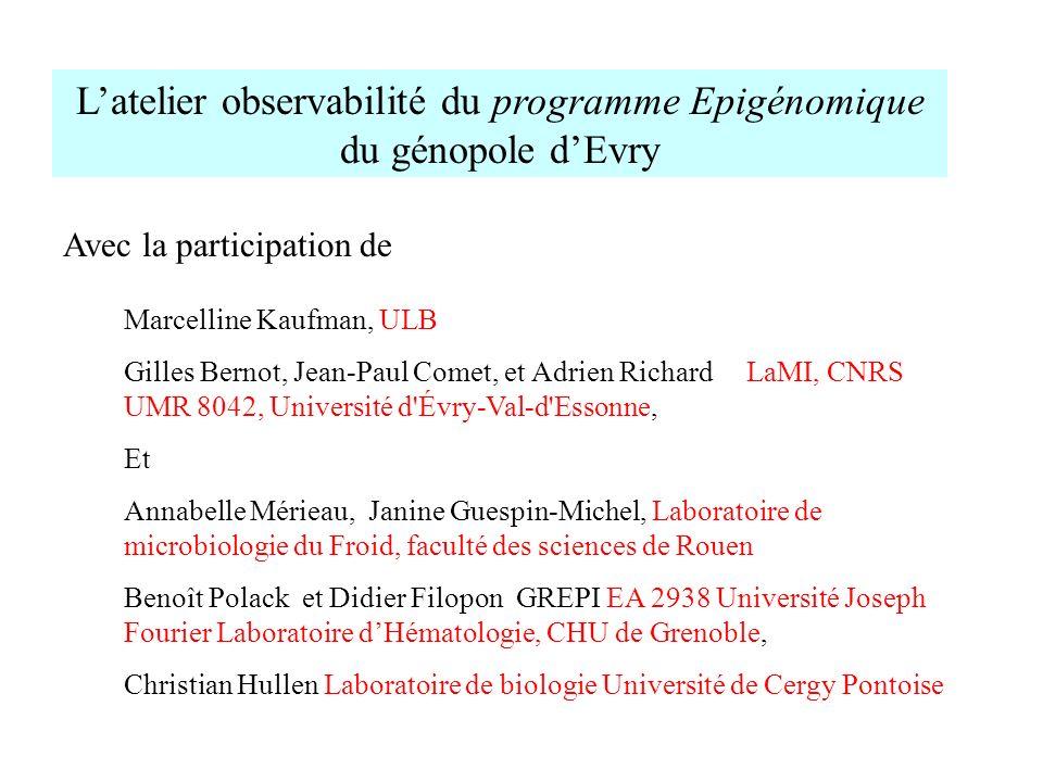L'atelier observabilité du programme Epigénomique du génopole d'Evry