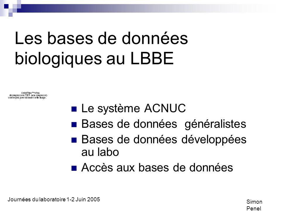 Les bases de données biologiques au LBBE
