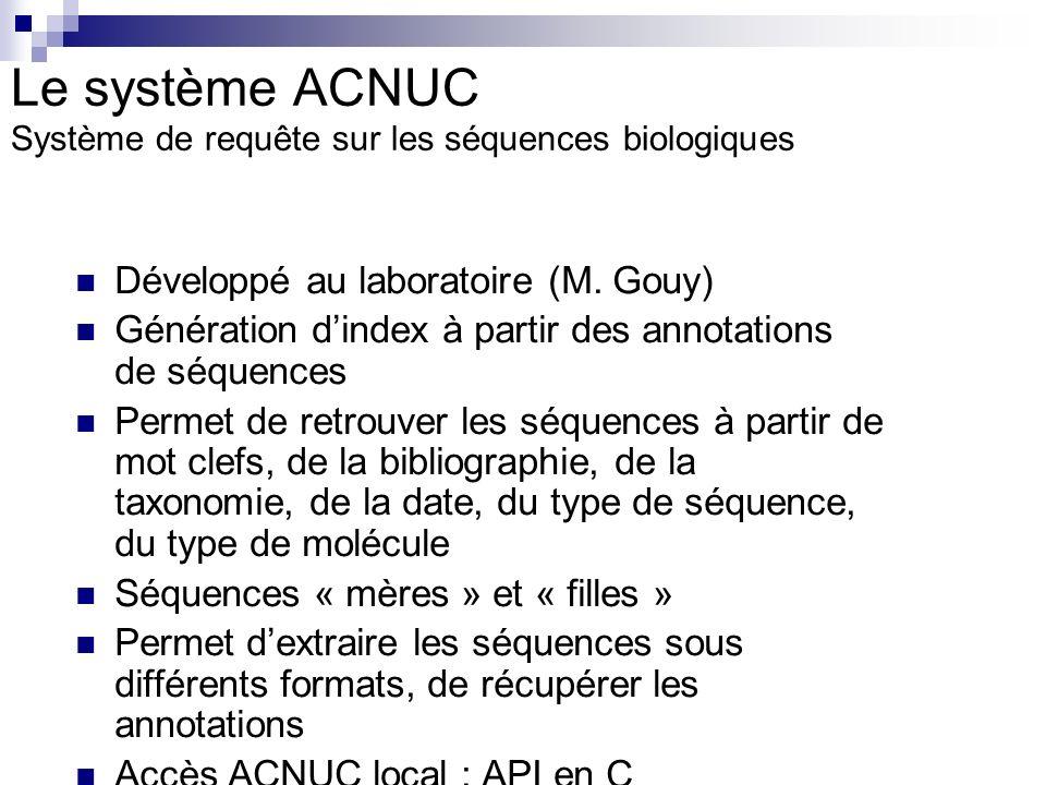 Le système ACNUC Système de requête sur les séquences biologiques
