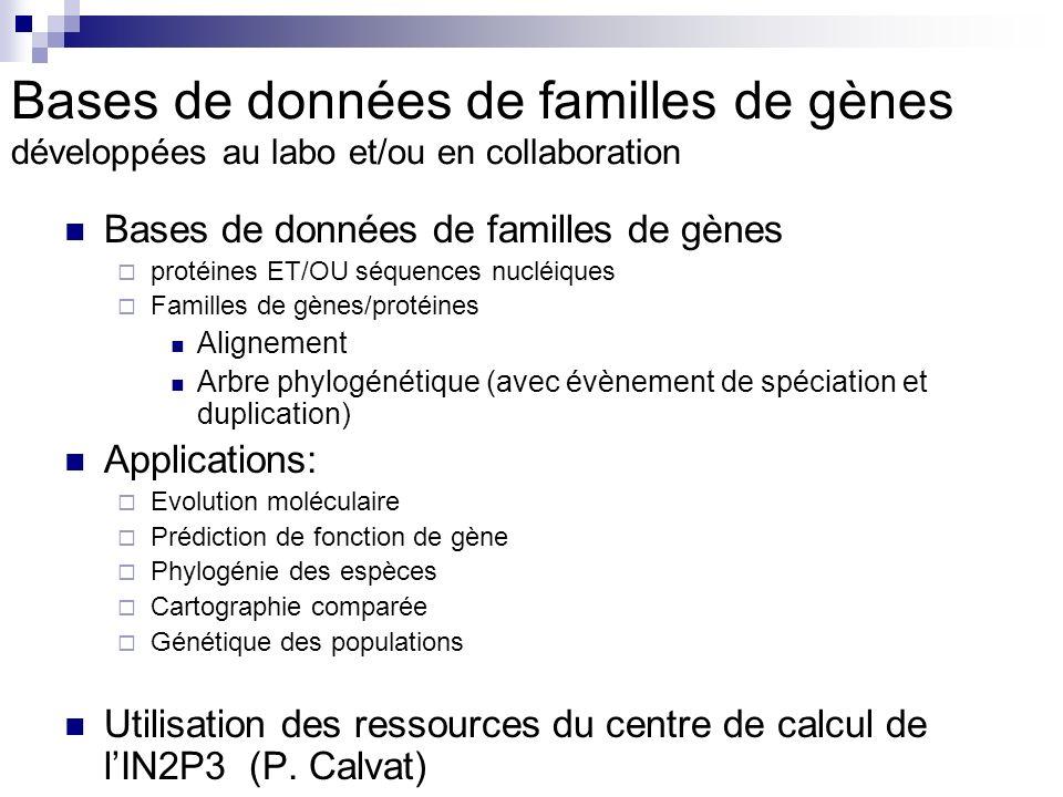 Bases de données de familles de gènes développées au labo et/ou en collaboration