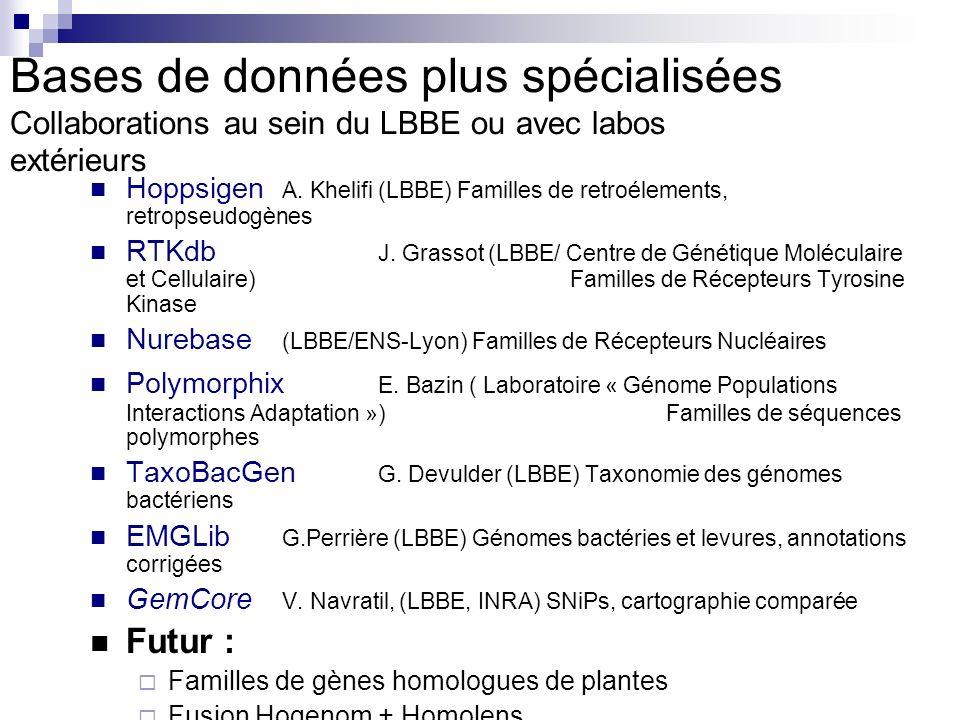 Bases de données plus spécialisées Collaborations au sein du LBBE ou avec labos extérieurs