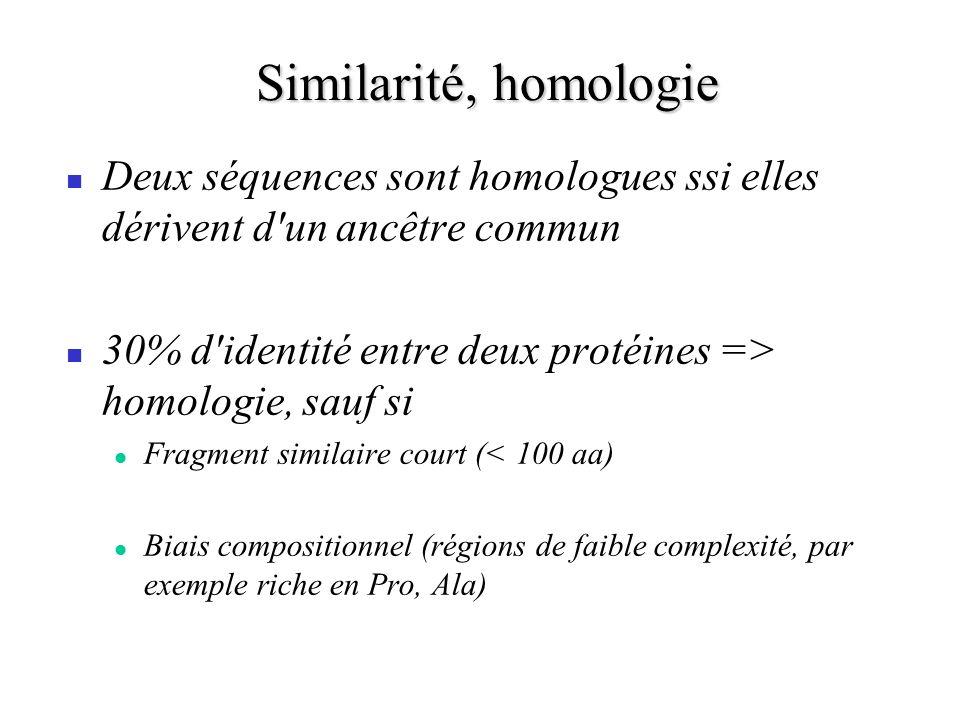 Similarité, homologie Deux séquences sont homologues ssi elles dérivent d un ancêtre commun.