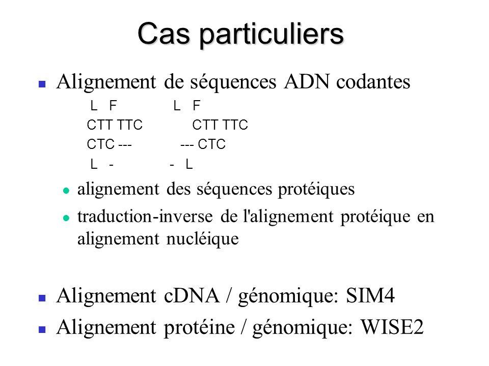 Cas particuliers Alignement de séquences ADN codantes