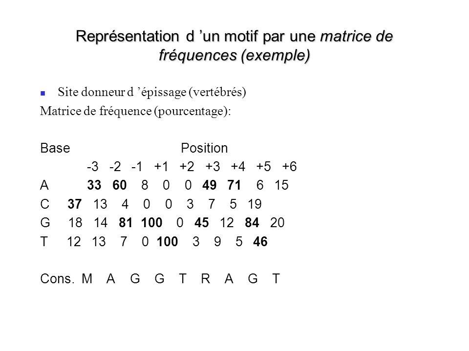 Représentation d 'un motif par une matrice de fréquences (exemple)