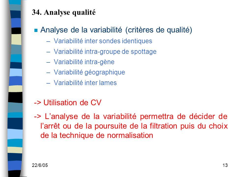 Analyse de la variabilité (critères de qualité)