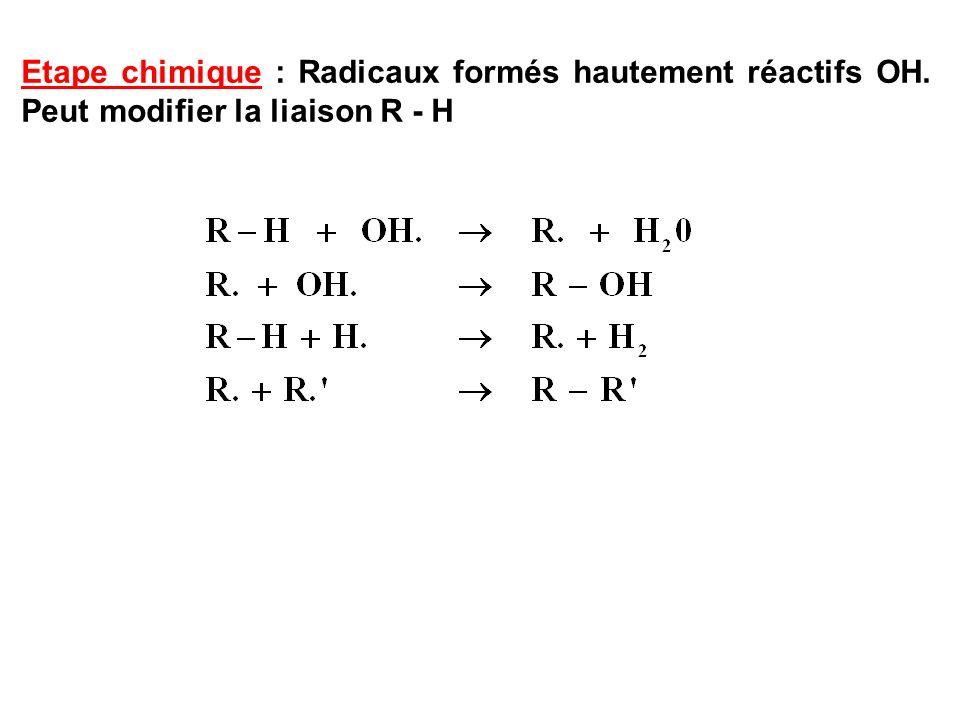 Etape chimique : Radicaux formés hautement réactifs OH