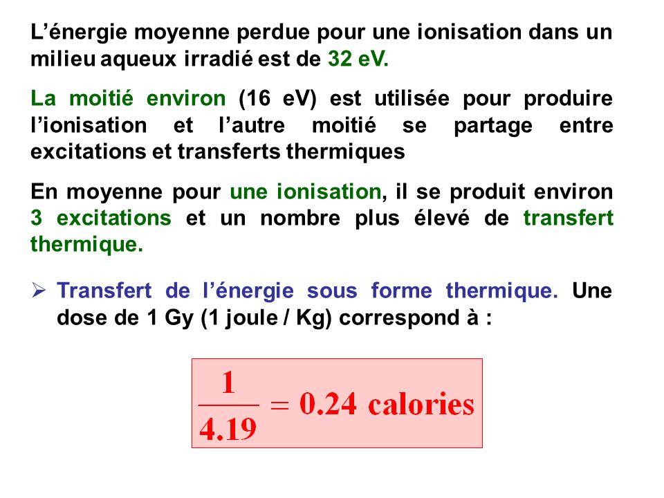 L'énergie moyenne perdue pour une ionisation dans un milieu aqueux irradié est de 32 eV.