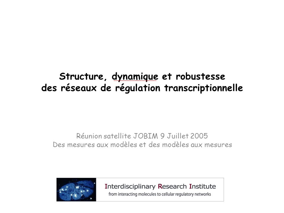 Structure, dynamique et robustesse